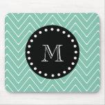 Mint Green Chevron Pattern | Black Monogram Mousepad
