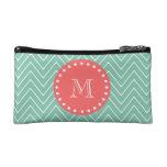 Mint Green Chevron Pattern | Coral Monogram Cosmetic Bag