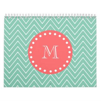Mint Green Chevron Pattern | Coral Monogram Calendar