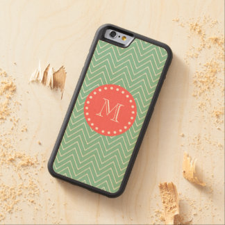 Mint Green Chevron Pattern | Coral Monogram Carved® Maple iPhone 6 Bumper