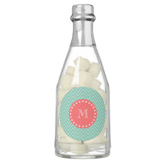 Mint Green Chevron Pattern | Coral Monogram Chewing Gum Favors