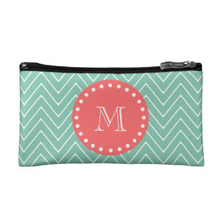 Mint Green Chevron Pattern | Coral Monogram Cosmetic Bags