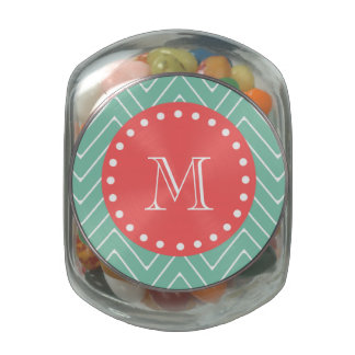 Mint Green Chevron Pattern | Coral Monogram Glass Jar