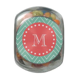 Mint Green Chevron Pattern | Coral Monogram Glass Jar