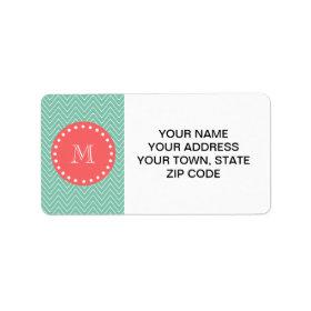 Mint Green Chevron Pattern | Coral Monogram Personalized Address Labels