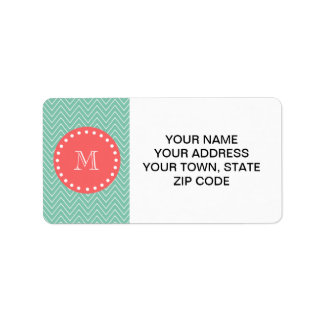 Mint Green Chevron Pattern | Coral Monogram Personalized Address Labels