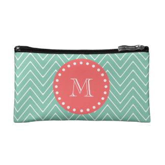 Mint Green Chevron Pattern | Coral Monogram Makeup Bag