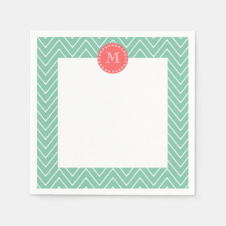 Mint Green Chevron Pattern | Coral Monogram Napkin
