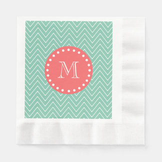 Mint Green Chevron Pattern | Coral Monogram Napkin