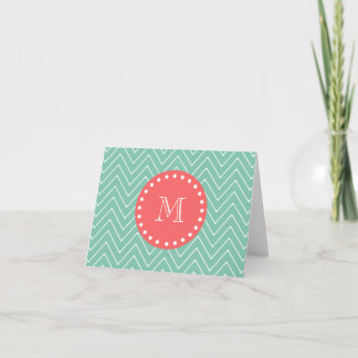 Mint Green Chevron Pattern | Coral Monogram Note Card