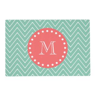 Mint Green Chevron Pattern | Coral Monogram Laminated Place Mat