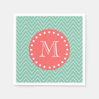 Mint Green Chevron Pattern | Coral Monogram Disposable Napkins