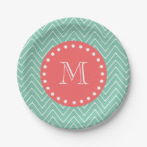 Mint Green Chevron Pattern | Coral Monogram Paper Plate