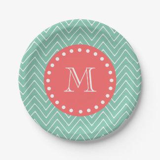 Mint Green Chevron Pattern | Coral Monogram Paper Plate