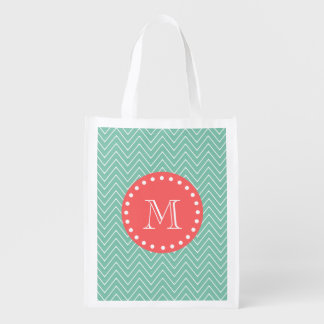 Mint Green Chevron Pattern | Coral Monogram Reusable Grocery Bags
