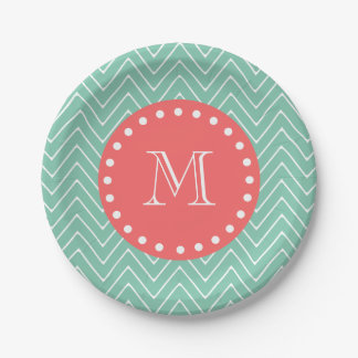 Mint Green Chevron Pattern | Coral Monogram 7 Inch Paper Plate