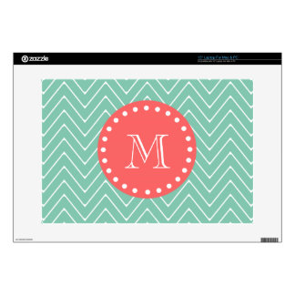 Mint Green Chevron Pattern | Coral Monogram Decals For Laptops