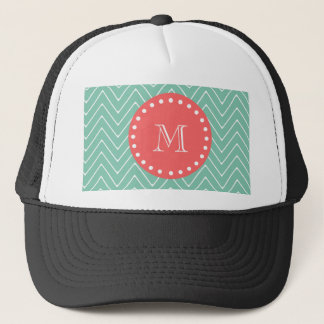 Mint Green Chevron Pattern | Coral Monogram Trucker Hat