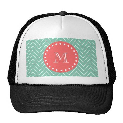 Mint Green Chevron Pattern   Coral Monogram Trucker Hat