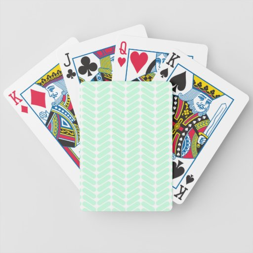 Mint Green Chevron Pattern, like Knitting. Bicycle Playing Cards