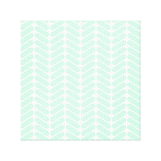 Mint Green Chevron Pattern like Knitting Stretched Canvas Prints