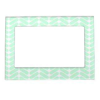 Mint Green Chevron Pattern, like Knitting. Magnetic Frame