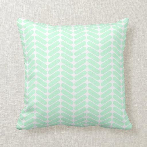 Throw Pillows In Mint Green : Mint Green Chevron Pattern, like Knitting. Throw Pillows Zazzle