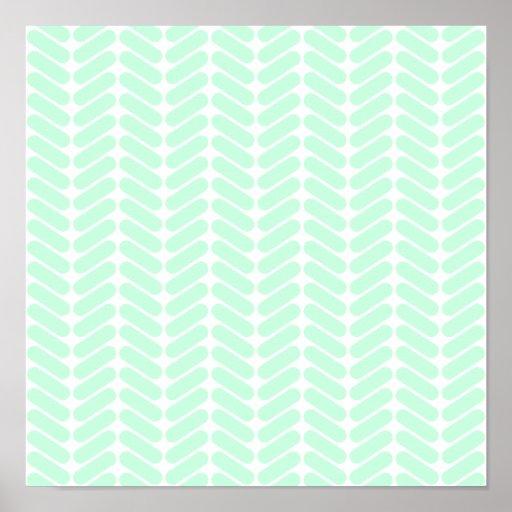Mint Green Chevron Pattern, like Knitting. Poster