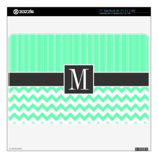 Mint Green Chevron Pattern MacBook Air Decals