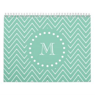 Mint Green Chevron Pattern | Mint Green Monogram Wall Calendar