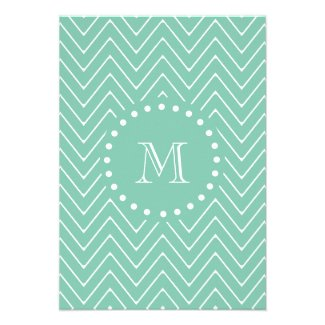 Mint Green Chevron Pattern | Mint Green Monogram Personalized Announcement