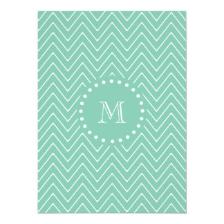Mint Green Chevron Pattern | Mint Green Monogram 5.5x7.5 Paper Invitation Card