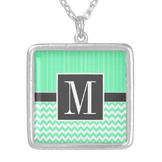 Mint Green Chevron Pattern Pendant