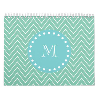 Mint Green Chevron Pattern | Teal Monogram Calendar