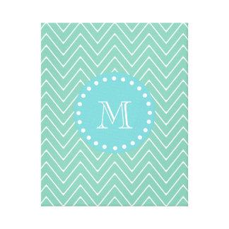 Mint Green Chevron Pattern | Teal Monogram Canvas Print