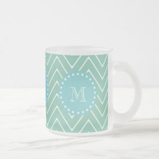 Mint Green Chevron Pattern   Teal Monogram Frosted Glass Coffee Mug