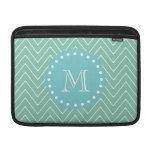 Mint Green Chevron Pattern | Teal Monogram MacBook Air Sleeve