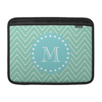 Mint Green Chevron Pattern | Teal Monogram MacBook Sleeve
