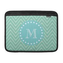 Mint Green Chevron Pattern   Teal Monogram MacBook Sleeve
