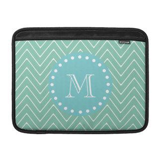 Mint Green Chevron Pattern | Teal Monogram MacBook Sleeve