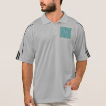 Mint Green Chevron Pattern | Teal Monogram Polo Shirt