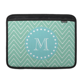 Mint Green Chevron Pattern | Teal Monogram Sleeve For MacBook Air