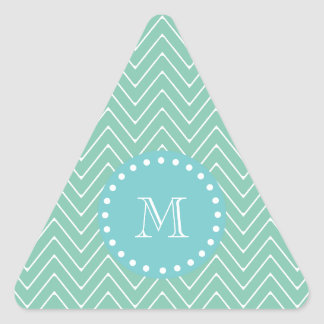 Mint Green Chevron Pattern   Teal Monogram Triangle Sticker