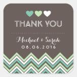 Mint Green Chevron Pattern Thank You Sticker