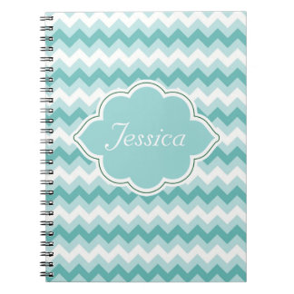 Mint Green Chevron Personalized Spiral NoteBooks