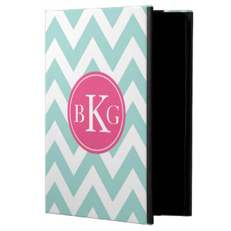 Mint Green Chevron & Pink Custom Monogram Case For iPad Air