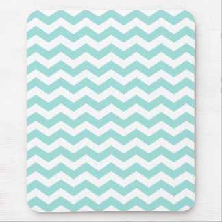 Mint Green Chevron Stripes Pattern Mouse Pad