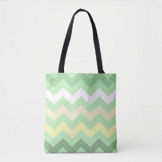 Mint Green Chevron Tote Bag