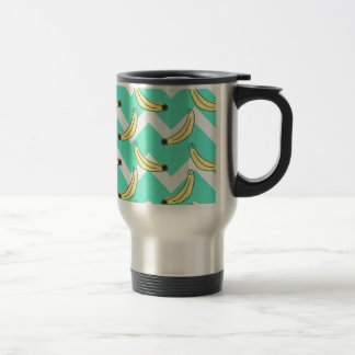 Mint Green Chevron Zig Zag Banana Pattern Travel Mug