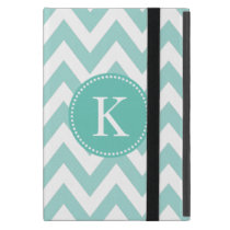 Mint Green Chevron Zigzag Monogram Pattern Cover For iPad Mini
